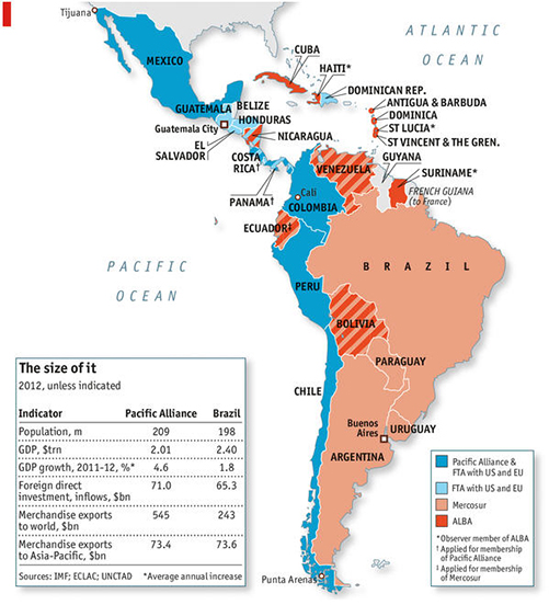 map of Mexico extending to Latin America with info in market size